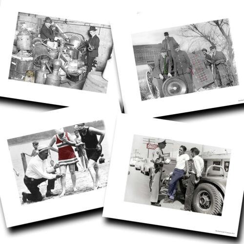 Vintage Law Enforcement Police Black White Designs Four Photo Prints