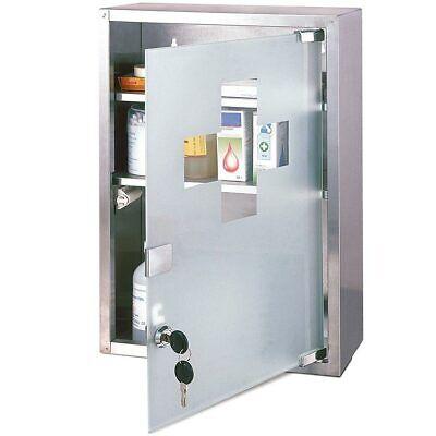 Armadietto Porta Medicinali Primo Soccorso Acciaio Inox Vetro Satinato 30x12x45