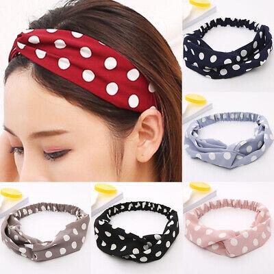 Womens Polka Dot Wide Headband Stretch Hairband Elastic Casual Hair Band Turban - Polka Dot Headband