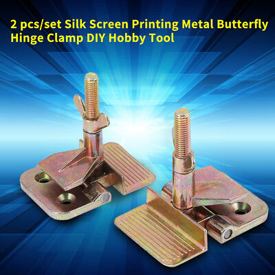 2x Diy Silk Screen Printing Butterfly Hinge Clamp Stainless Steel Hobby Kit