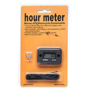 Black Inductive Hour Meter Timer for ATV Motorcycle Snowmobile MotorBoat Engine