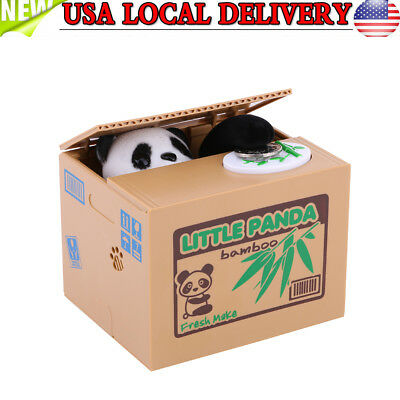 Cute Panda Automated Piggy Bank Money Box Stealing Coin Saving Money Box US