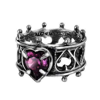 Elizabethan Ring Pewter Alchemy Gothic Jewelry Purple Swarvoski Crystal R156