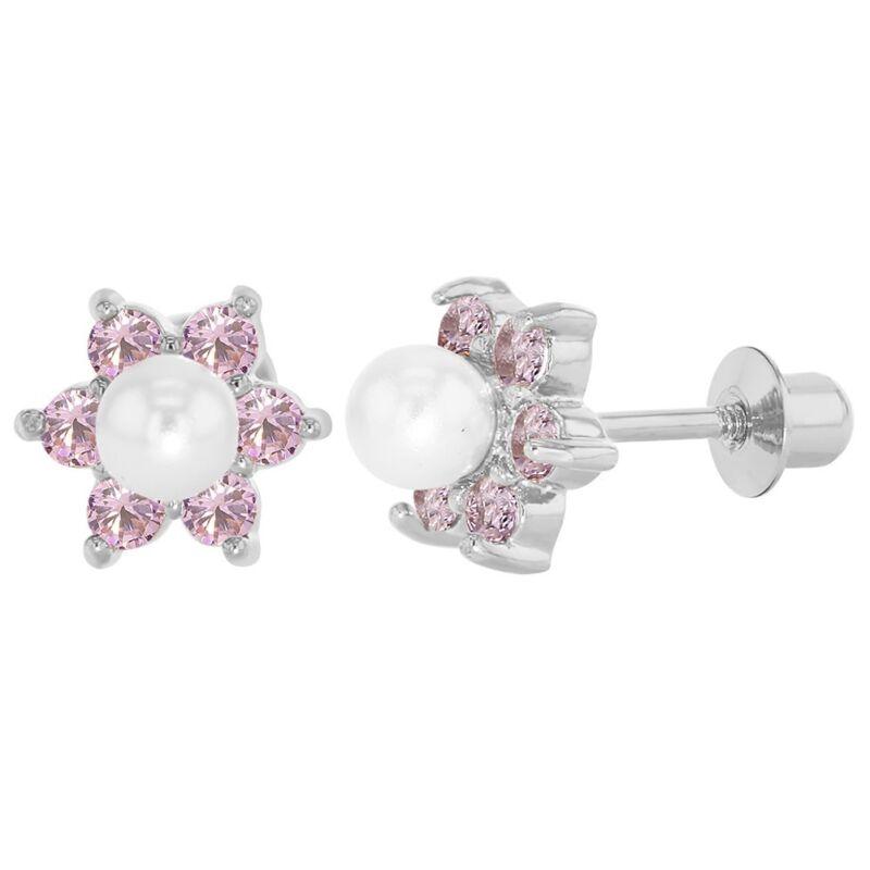 Rhodium Plated Pink Crystal Flower Simulated Pearl Screw Back Girls Earrings