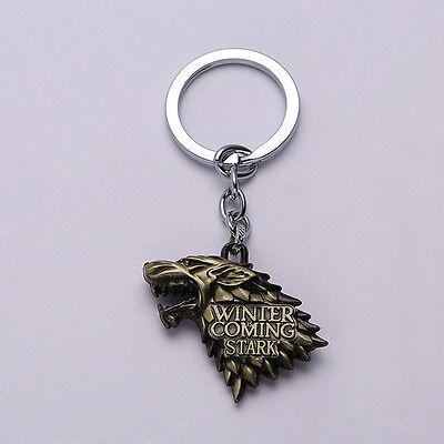 Game of Thrones House Stark Head Winter is Coming Coppery Metal Keyring Keychain