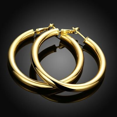 18K Yellow Gold Filled Round 50MM Large LIGHT WEIGHT Hoop Fashion Earrings