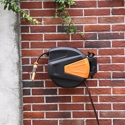 Retractable Garden Hose Auto Reel 20m Wall Mounted w/Protective PP Cover Fitting