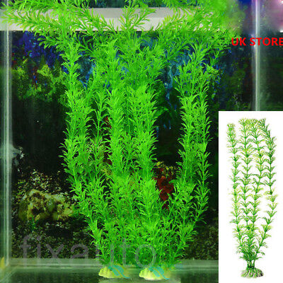 27cm Artificial Aquarium Fish Tank Plastic Green Plants Grass Ornament Decor US ()