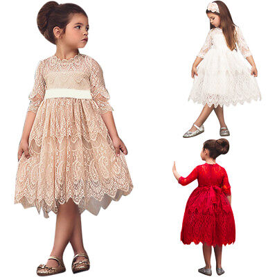 Lace Dress for Girls Wedding Bridesmaid Party Pageant 3/4 Sleeve Country - Girls Country Dress