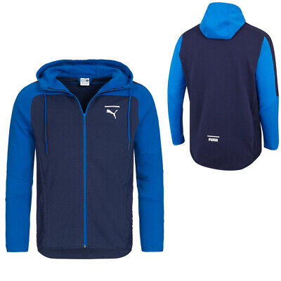 Puma Mens NET Full Zip Colour Block Hoodie Sweatshirt Jacket Navy 577173 03