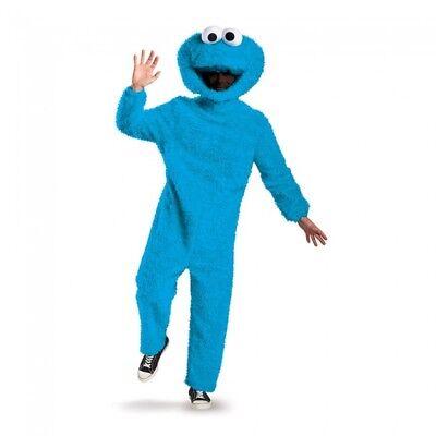 Sesame Street Cookie Monster Adult Costume Halloween Plush Jumpsuit Mascot Blue
