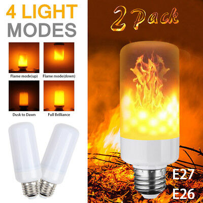 (2 Pack LED Flame Effect Simulated Nature Fire Light Bulb E27 5W Decoration Lamp)