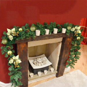 6ft cream gold decorated garland christmas decoration for Christmas garland on fireplace