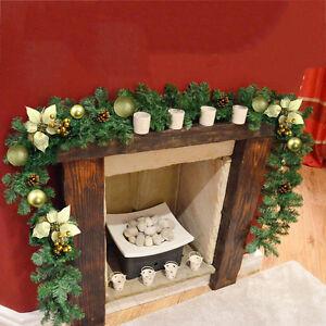 6ft Cream & Gold Decorated Garland Christmas Decoration Xmas Fireplace Tree Pine