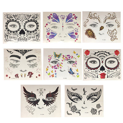 Halloween Face Tattoo Day of the Dead Sticker Festival Body Art Makeup Party