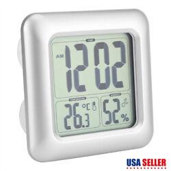 LCD Digital Suction Waterproof Wall Clock Vacuum Thermometer Hygrometer Bathroom