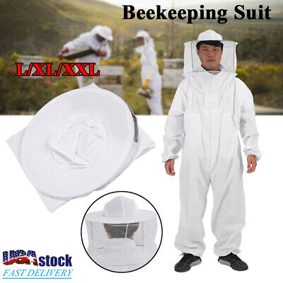 Cotton Full Body Beekeeping Jacket Bee Keeping Coverall Suit W Hat-veil L-xxl