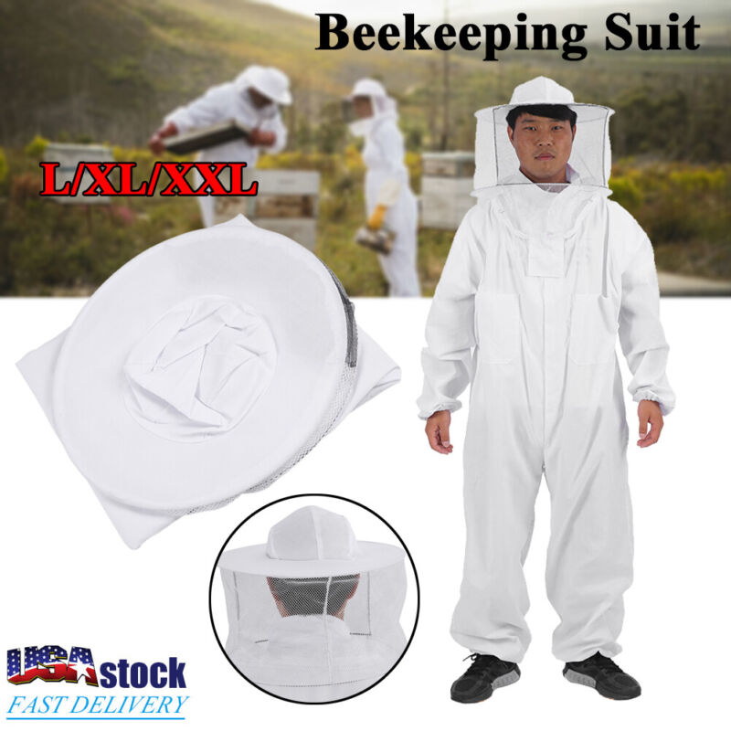 Cotton Full Body Beekeeping Jacket Bee Keeping Coverall Suit w/ Hat-Veil XL-XXL