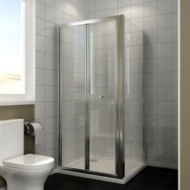 +SALE+ 800x800mm Bifold Shower Enclosure + Stone Tray + Waste