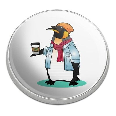 Cool Penguin Hipster with Coffee Golfing Premium Metal Golf Ball Marker (Cool Ball Marker)
