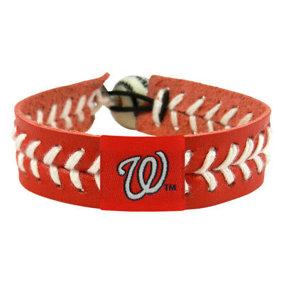 Washington Nationals Team Color Baseball Bracelet WAS MLB Leather Stitch