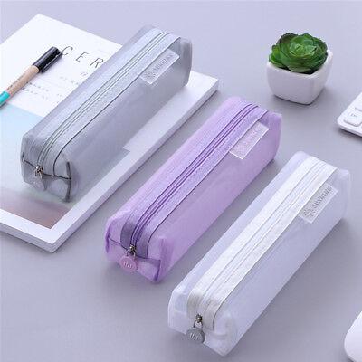 Nylon Pencil Bag (Transparent Student Pen Pencil Case Nylon Mesh Pouch Makeup Bags Storage)