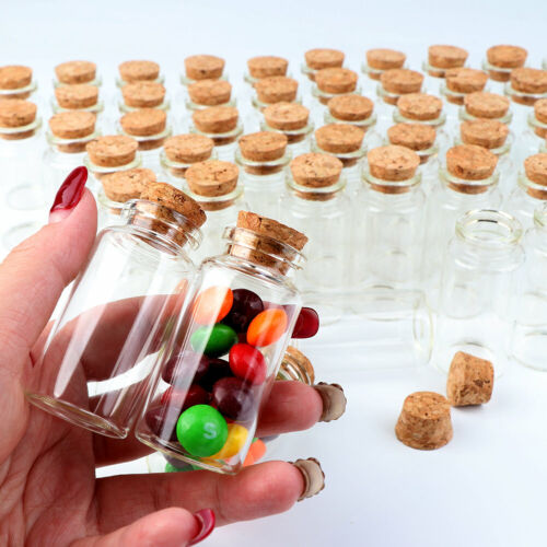 12x Clear Mini Glass Bottles with Cork Stoppers Small Glass