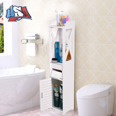 Bathroom Toilet Wood Floor Storage Cabinet Holder Organizer Space Saver White US