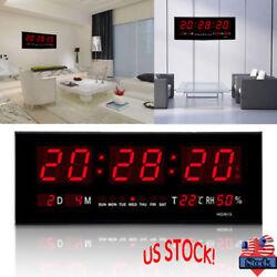 Digital Jumbo LED Wall Desk Alarm Clock Display Calendar Temperature Home Decor
