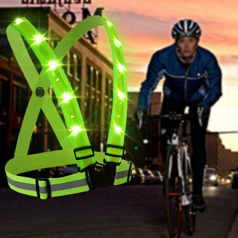 Adjustable USB Rechargeable LED Reflective Belt Vest for Running Cycling Tool