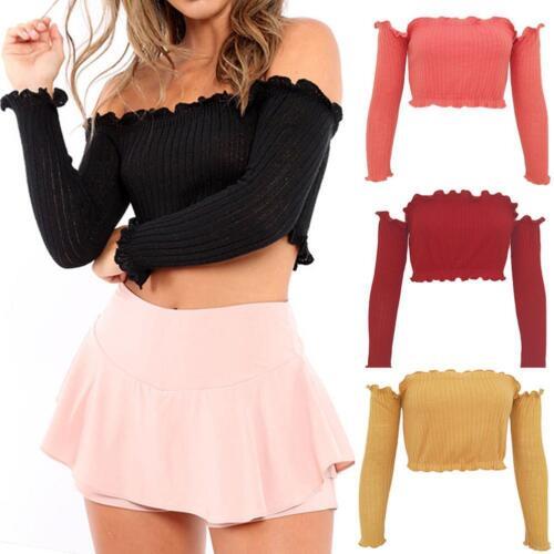 d5d44536d9 Details about Fashion Womens Off Shoulder Crop Tops Frill Bralet Boobtube  Jumper Tops Blouses