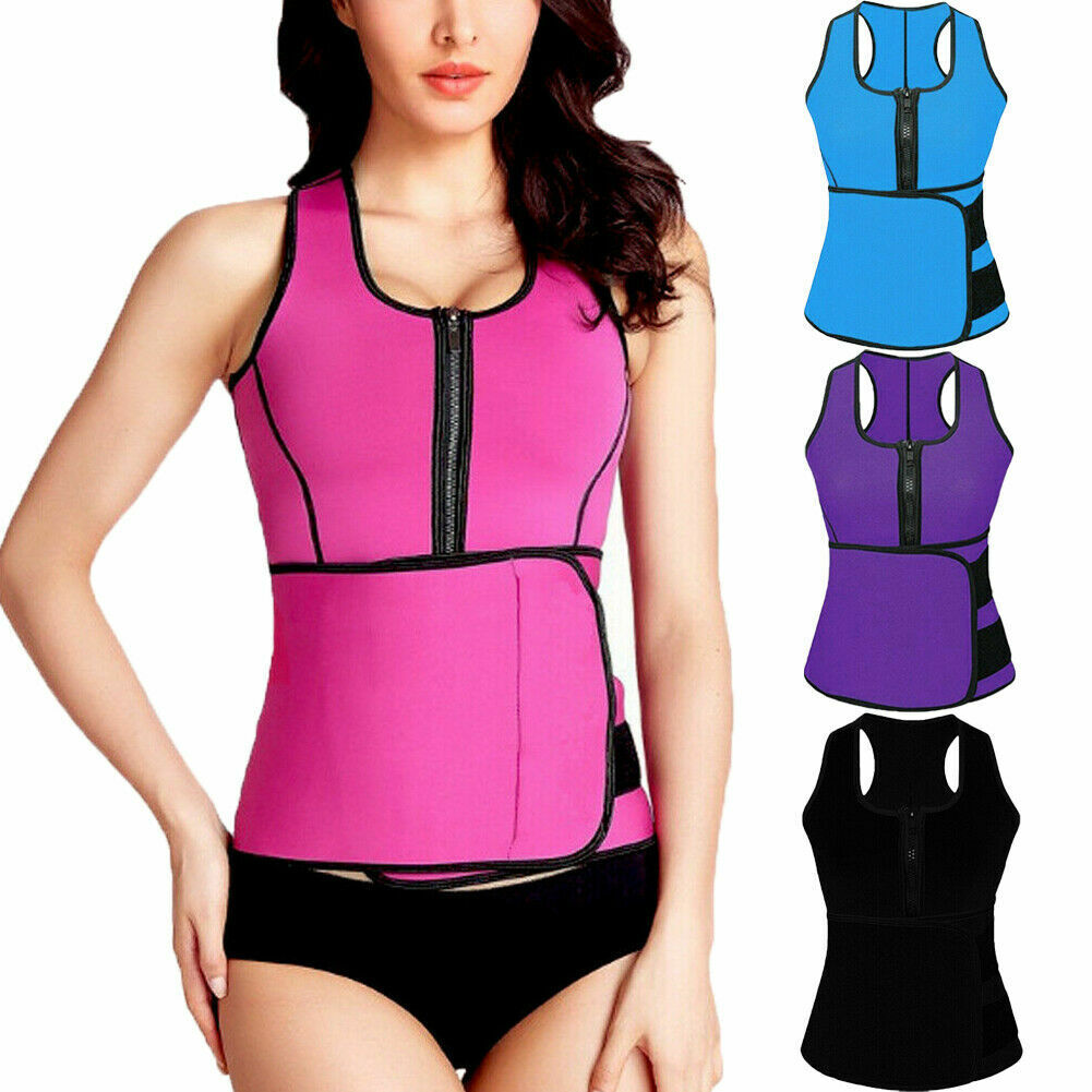 Lady Sauna Thermo Sweat Waist Trainer Vest Body Shaper Tummy Slimmer Belt Corset Clothing, Shoes & Accessories