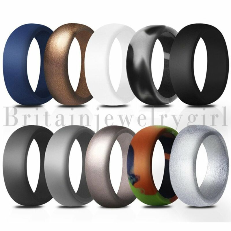 10pcs Pack Silicone Rubber 8.7mm Wedding Ring For Men Women Boys Band Size 7-14