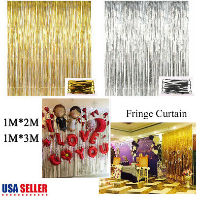 Lot Metallic Foil Fringe Curtains Photo Booth Tinsel Backdrop Party Decoration](Photo Booth Curtains)