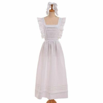 Victorian Women Edwardian White Apron Housekeeper Maid Pinafore Colonial Apron