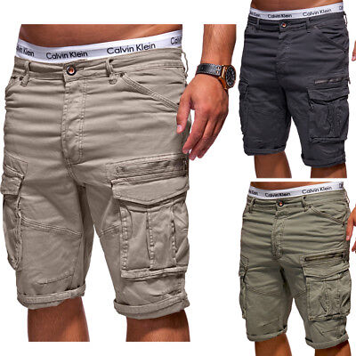 BEHYPE Herren Shorts Jeans-Bermuda Kurze Cargo Hose Khaki/Dunkelgrau/Beige NEU ()