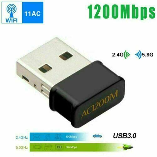 USB 2.0 1200Mbps Long Range AC1200 Dual Band 5GHz Wireless WiFi Adapter Antennas