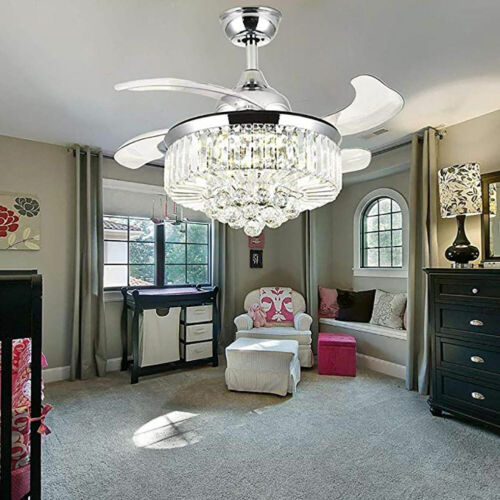 """42"""" Invisible Ceiling Fan Light Crystal Chandelier Pendant Lamp w/Remote - Silver"""