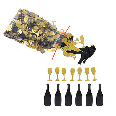 Birthday Paty Confetti Black and Gold Bottles Glasses Table Confetti Wedding (Black And Gold Birthday)