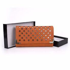 Star pattern Metal trim purse in Yellow, Orange or Purple