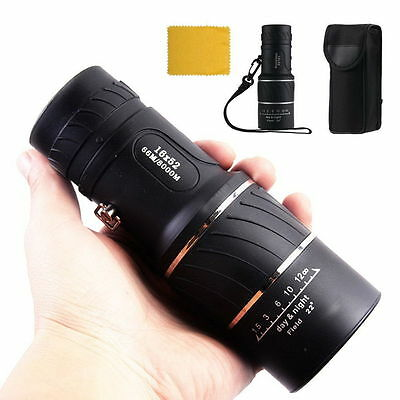 16x52 Optics Zoom Lens Camping Hiking Hunting Telescope Scope Outdoor Monocular