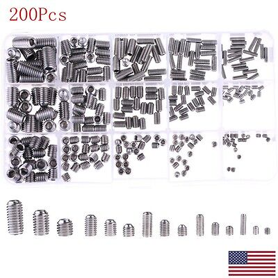 Assortment Stainless Steel Allen Head Socket Hex Set Grub Screw Cup Point  US