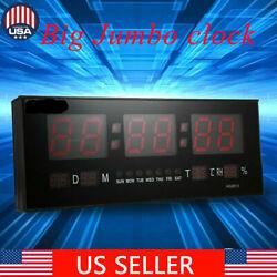 Big Digital Jumbo Red LED Wall Desk Alarm Clock Display Calendar Temperature US