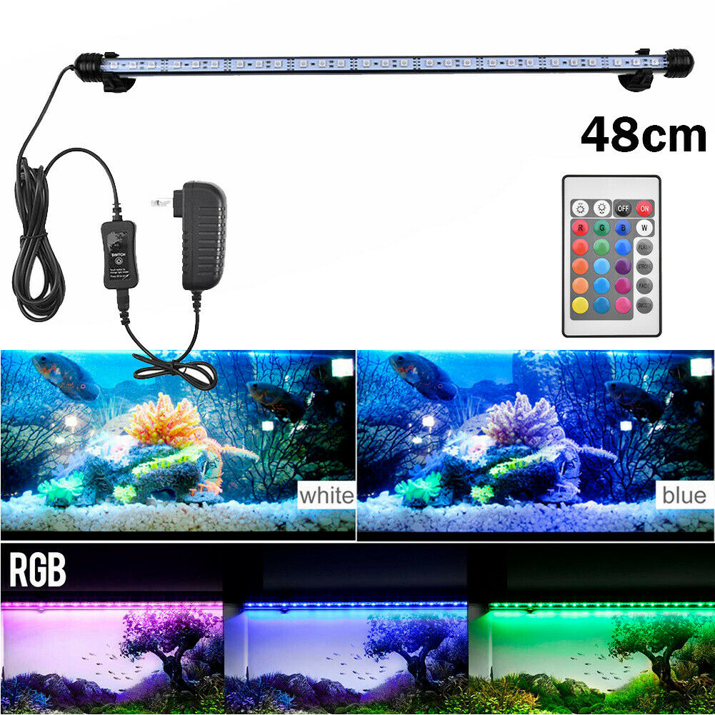 Aquarium Fish Tank RGB LED Light Submersible Waterproof Bar Strip Lamp Lighting 48cm(For 55-60cm Fish Tank)