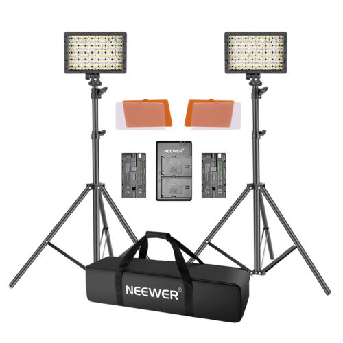 Neewer 2 Packs CN-160 LED Dimmable Video Light and Stand Lighting/Filters Kit