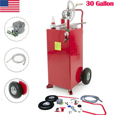 Pro 30 Gallon Gas Fuel Diesel Caddy Transfer Tank Container W Manual Pump Us
