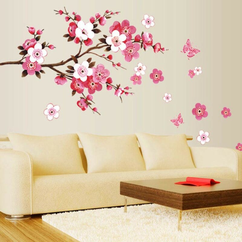Home Decoration - Large Peach Blossom Flower Butterfly Wall Stickers Art Decal Home Room Decor UK