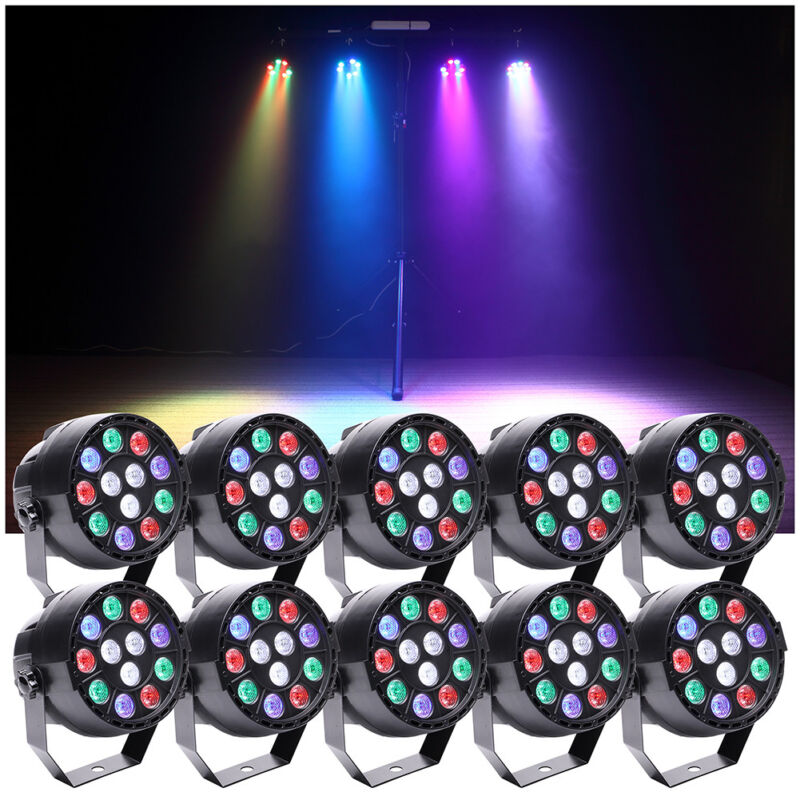 10PCS 15W RGBW 12 LED Stage Par Can Stage Lighting DMX-512 Party Bar DJ Theater
