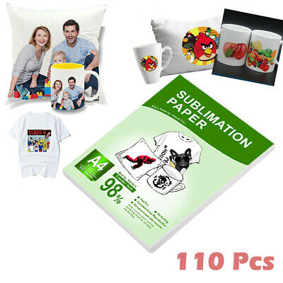 110 Sheets A4 Sublimation Paper Heat Transfer Iron On Cup Mug Polyester T-shirts