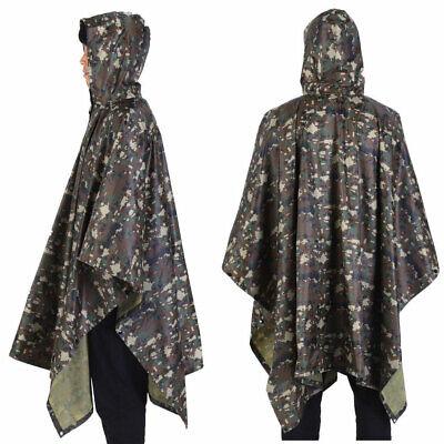 US Army Waterproof RipStop Hooded Rain Military Poncho Campi